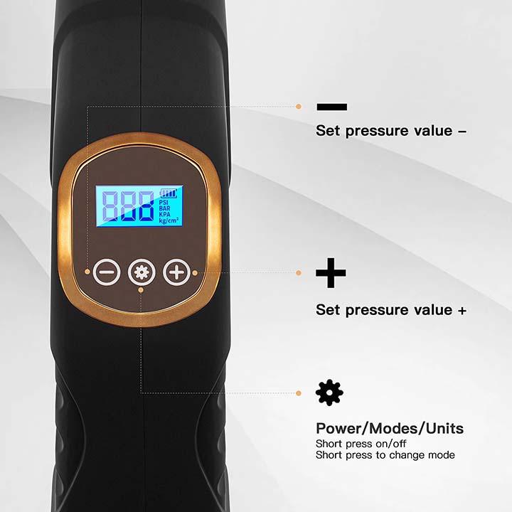 Compresor de aire portátil con batería de Litio 2000mAh y potencia 2.8 BAR CDPAP01